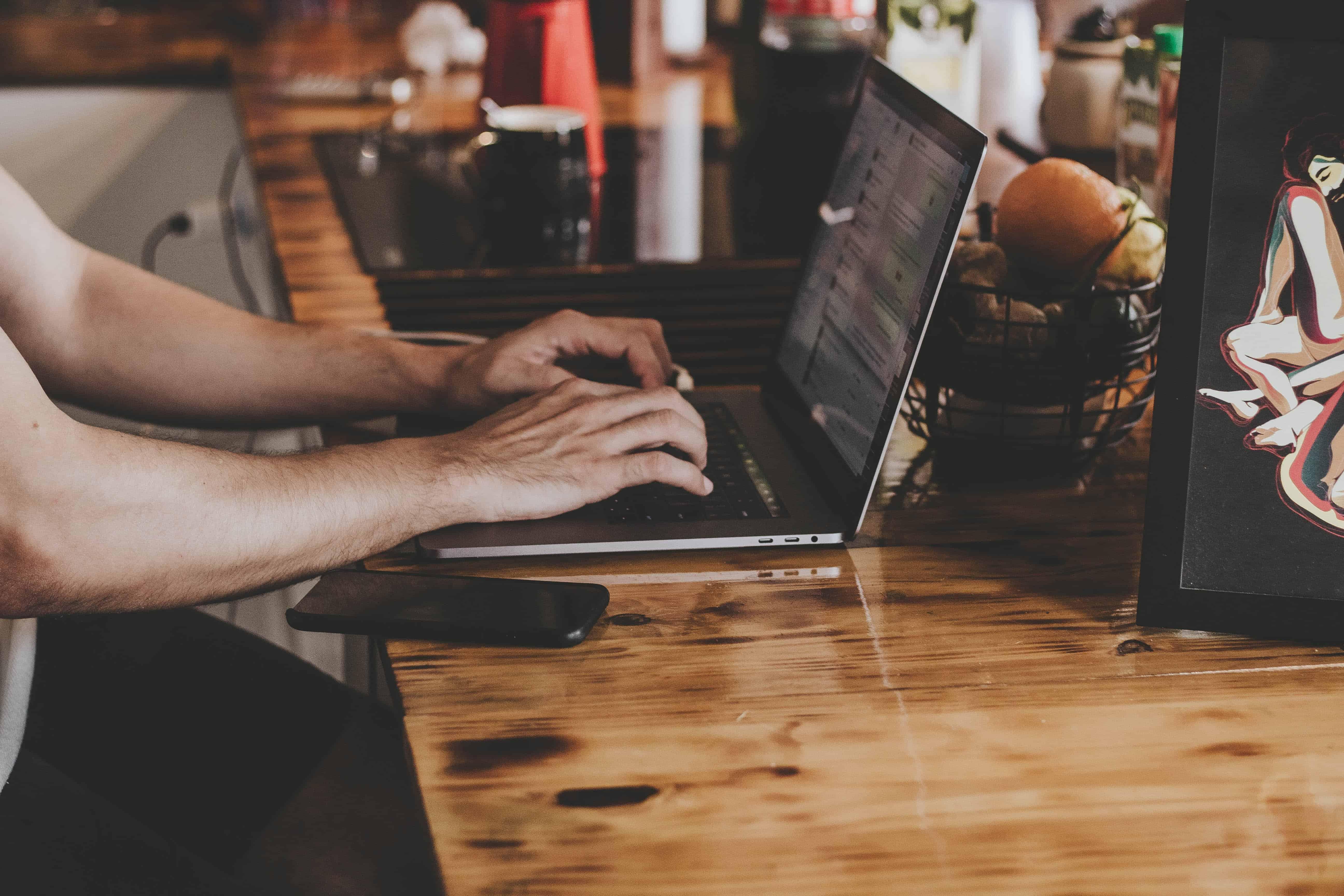 computer hands laptop
