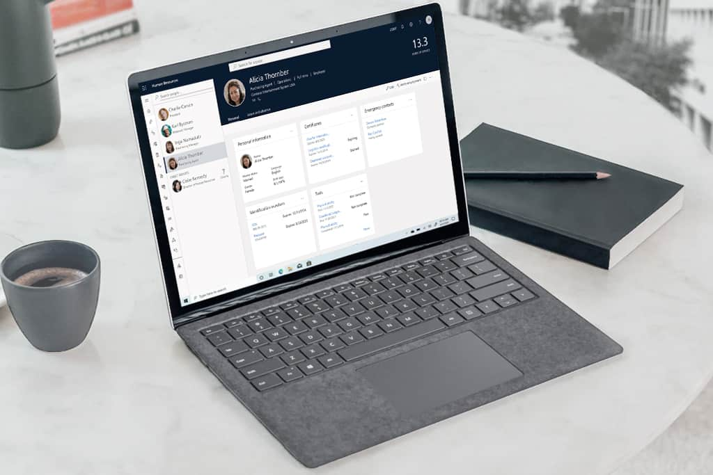 Human resources CRM system, microsoft laptop