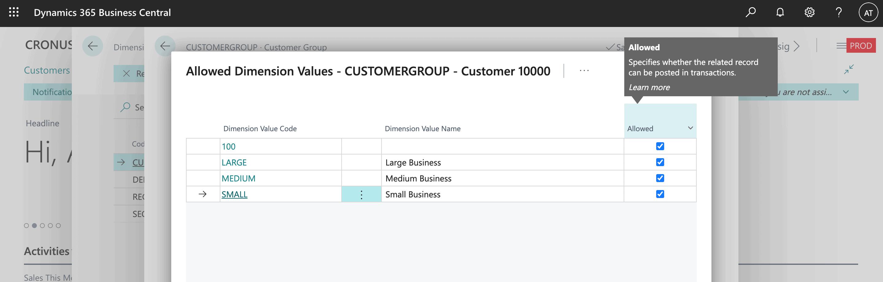 Microsoft Dynamics 365 Business Central Screenshot - Dimensions
