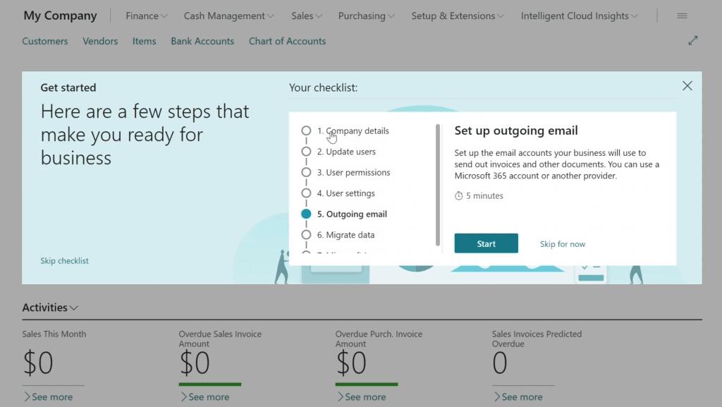 Microsoft Dynamics 365 Business Central Screenshot - checklist
