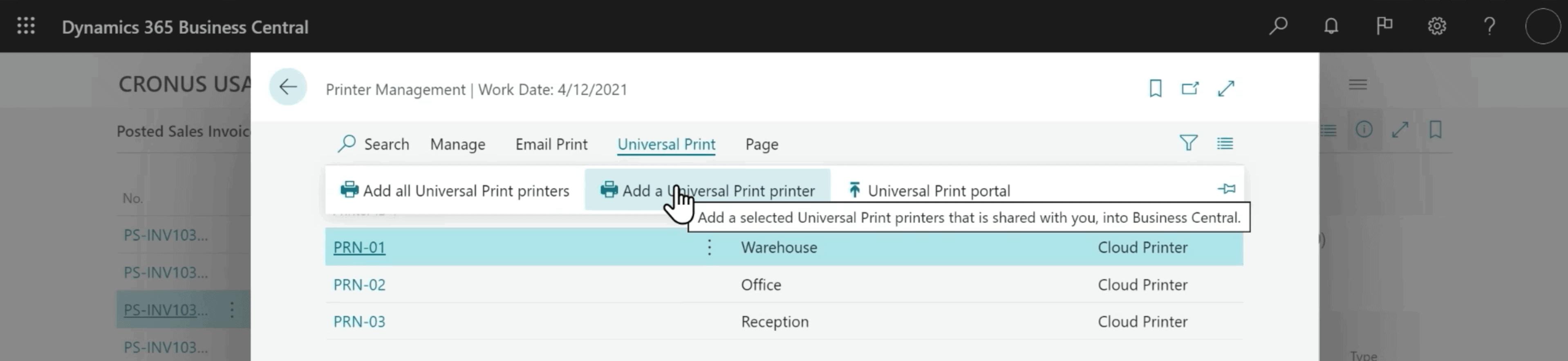 Microsoft Dynamics 365 Business Central Screenshot - Printer Management > Universal Printer