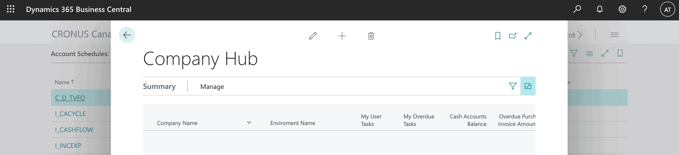 Microsoft Dynamics 365 Business Central Screenshot - Condensed Menu