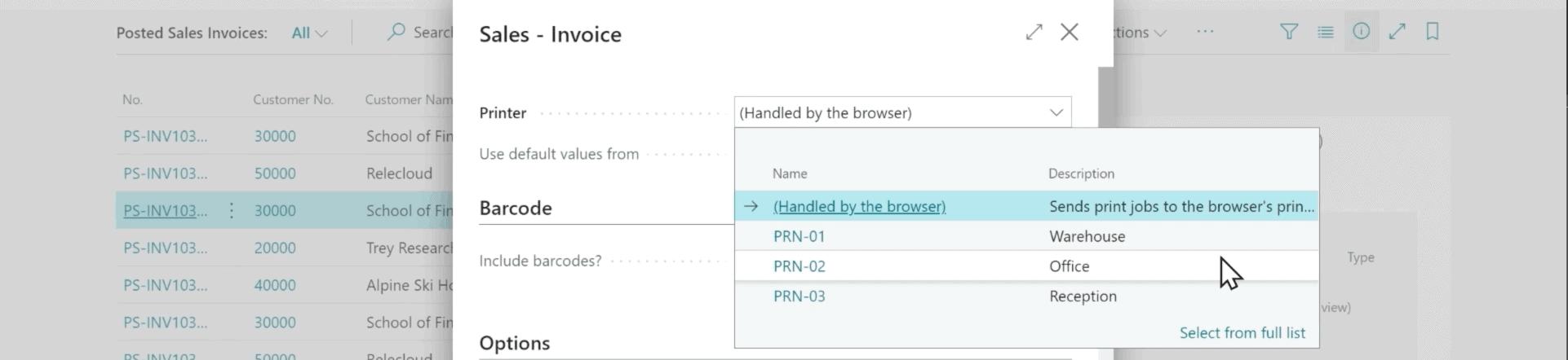 Microsoft Dynamics 365 Business Central Screenshot - Printer management